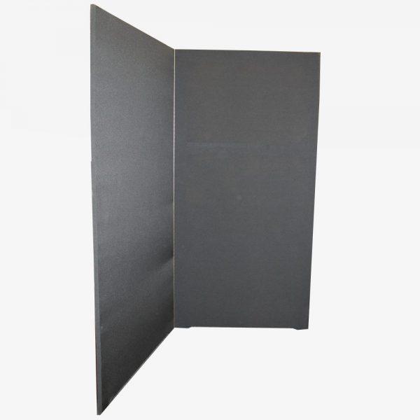Afscheidingswand van zwarte stof 220 cm hoog en 200 cm breed