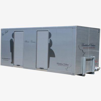 Toilet container met 5 damestoiletten 1 heren toilet en 4 urinoir